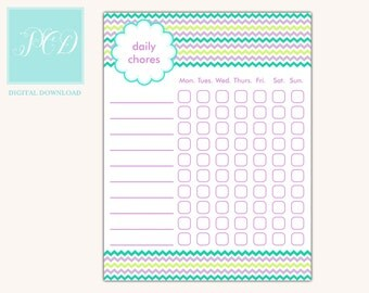 Family Chore Chart - Instant Download