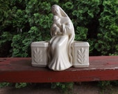 FREE SHIPPING vintage Madonna Mary and Jesus vase pottery planter (Vault B2)