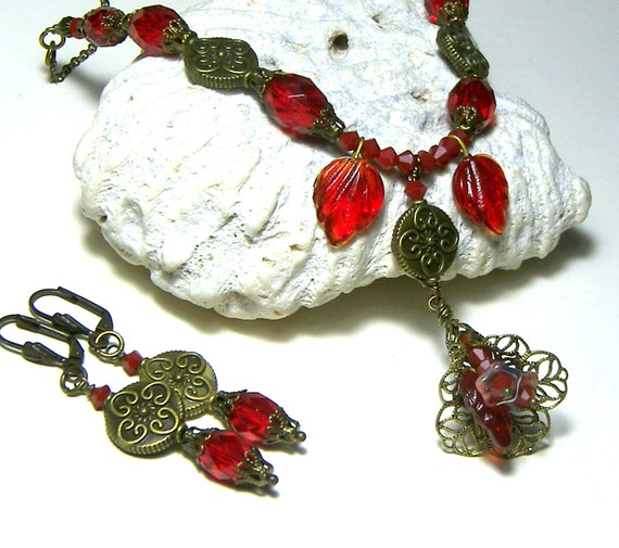 Ruby Red Beaded Necklace Earring Jewelry Set Top Selling Jewelry Beaded Necklace Gift Ideas Red Leaves Necklace