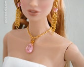 Elegant Pendant Necklace with Sparkling Soft Pink CZ Crystal. Set Completes with Matching Earrings.