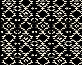 Black and Off White Tribal Fabric - Black Off White By Kimsa - Southwestern Modern Tribal Cotton Fabric By The Yard With Spoonflower