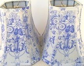 French Lamp Shade Lampshade Periwinkle Vintage Floral Toile - 7x12x9.5 High - To Die For Fabric - Very Special Treat!