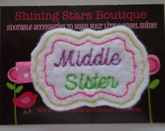 Felt Hair Clips - Girls Hair Accessories - Yellow, Hot Pink, Lime, Green, And Purple Embroidered Felt Middle Sister Hair Clippie For Girls