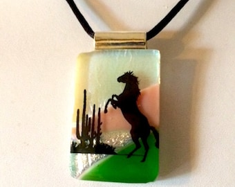 """The Stallion"""" Fused Glass Horse Pendant Necklace"""