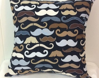 Decorative Pillow, Sofa Pillow, Couch Pillow, Throw Pillow, Bed Pillow, Decorative Bed Pillow, Mustache Pillow, Accent Pillow, Multi Colored