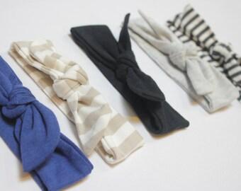 Custom Made Newborn up to 12m Baby Retro Bow Bamboo Ultra Soft Headband, Knot Headband