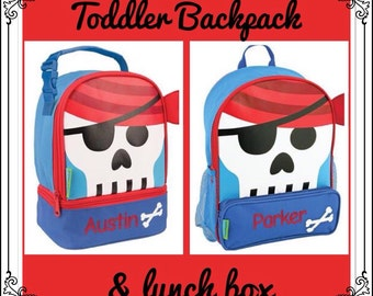 Toddler Backpack and Lunchbox / personalized backpack / personalized lunchbox / STEPHEN JOSEPH backpack /PIRATE