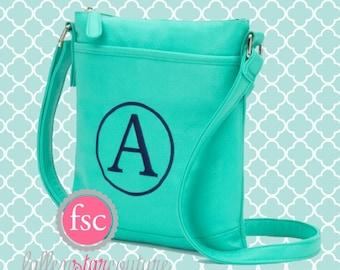 Monogrammed purse , mint purse , personalized purse , sorority purse , summer crossbody bag , teen pocketbook , crossbody purse