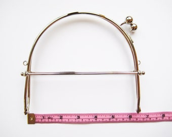 16 cm 6 inch shiny silver purse frame  antique bag handle fastening hardware kiss lock clasp snap interchangeable diy knit crochet sew craft