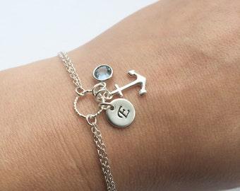 Personalized Anchor Bracelet in Sterling Silver - Adjustable Personalized Anchor, Birthstone and Initial Bracelet