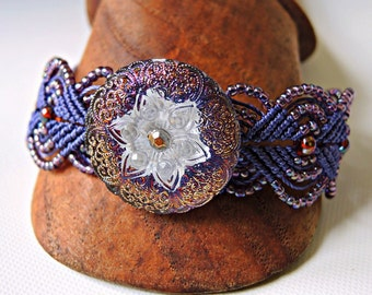 Purple Macrame Bracelet with Czech Glass Button - Micro Macrame Bracelet - Lilac - Lavender - Micro Macrame