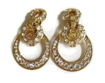 Rhinestone Door Knocker Earrings Vintage Gold Tone Dangles Statement