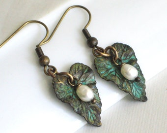 Small Patina Leaf Earrings - Leaf Jewelry, Nature Jewelry