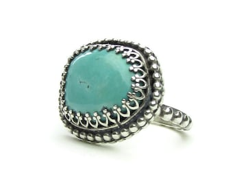 Bohemian Ring - Natural Turquoise Ring  - Turquoise Statement Ring -Silver Gemstone Ring -Southwestern Jewelry - Size 8.5 Ring - R-013