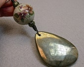 Vintage Pyrite Teardrop FAN LIGHT Pull ,Vintage Chinese Porcelain Purple Flowers Bead