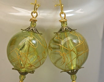 Vintage Japanese Lucite Bead Dangle Drop Earrings -Chartreuse Green Clear Gold Drizzle, Swarovski Crystal,Gold Ear Wires -GIFT WRAPPED