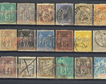 23 France Stamps Early Classic All Different Some Good CV Reunion Turkey Lot I33