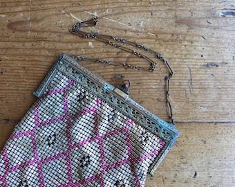 Slinky Jazz Age Mesh Evening Bag, Pink Metallic Mesh Handbag, Geometric Pattern, Whiting & Davis Era