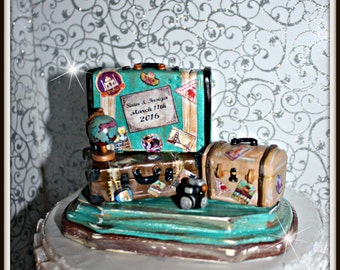 Vintage Suitcase Travel Cake Topper,Personalized