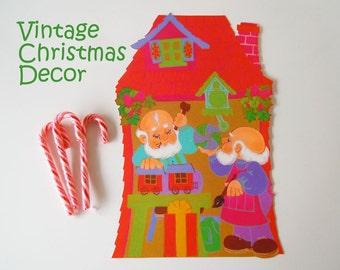 Vintage 1970 Christmas Decoration Santa Claus North Elves Toy Shop Elf Paper Die Cut