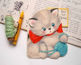 Vintage Flocked Kitten Cat Playing with a Ball of Yarn Greeting Card