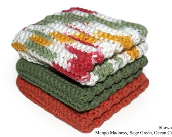 Terracotta Washcloths, Sage Green, Cotton Dishcloths, Crocheted Cotton Washcloths, Kitchen Linens, Absorbent, CHOICE of COLOR, Made to Order