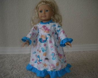 Under The Sea Flannel Nightgown For American Girl Dolls or Most 18 inch Dolls