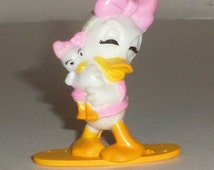 Vintage Disney Daisy Duck with Baby Duck Figurine - Small Figurine - Plastic Figurine - Pink Daisy Duck - Disney Kellogg 1991 Cereal Prize