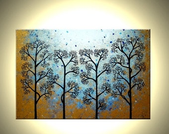 "Original Abstract Tree Painting, TEXTURED Abstract Metallic Gold Impasto Trees, 36x24"" Lafferty - 22% Off Sale"