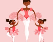 """8X10"""" Ballerina mommy and twins giclee print on fine art paper in pink. Chocolate African American skin tone."""