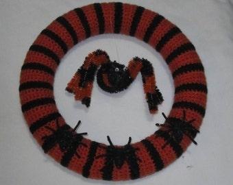 Halloween Striped Black and Orange Spider Wreath