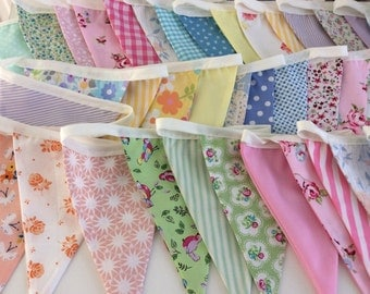 Extra Long Pastel Bunting / fabric garland / banner - 33ft Long, weddings, parties, decoration