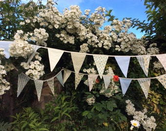 Extra long Bunting in Ivory, Beige and Blue- Fabric Garland, Wedding Bunting, Birthday, Anniversary, 21ft long or 6.5m long