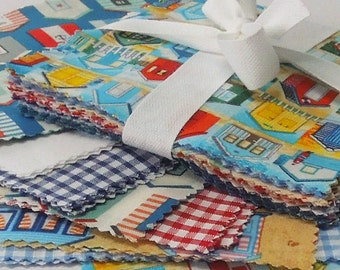 Beach Hut Patchwork Fabric Bundle, Makower Beach Hut Patchwork Pack, Charm Pack, 30 x 5 inch squares of Beach Hut Cotton Fabric