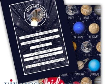 SPACE and PLANETS Solar System Printable Birthday Party Invitation Real Imagery from NASA Customizable - Printing Available