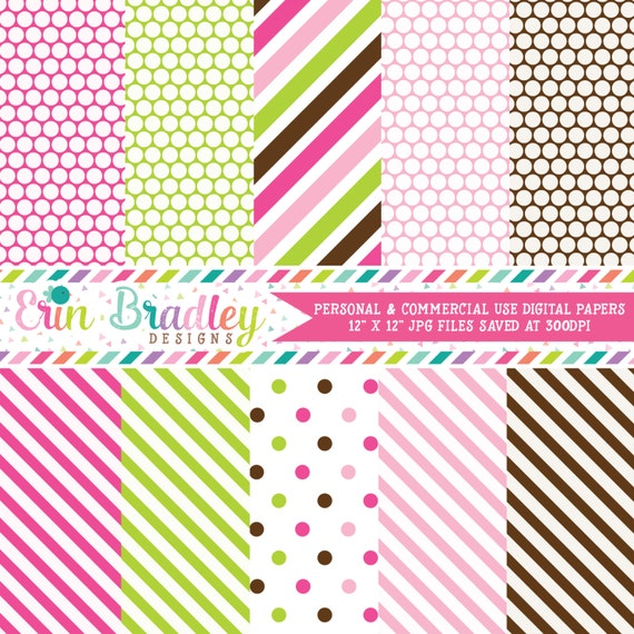 Polka dots stripes printable paper pack in pink green for Dots and stripes party theme