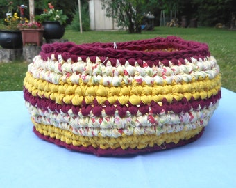 Crocheted Fabric Basket Recycled
