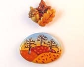 Fall Decorations, Autumn Fridge Magnet Set, Thanksgiving Decor, Kitchen Decor, Autumn Decor, Leaf & Acorn Magnets, Housewarming Gifts