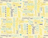 I Love You To The Moon and Back Multi Words Cotton Fabric From Wilmington Prints By Jennifer Pugh