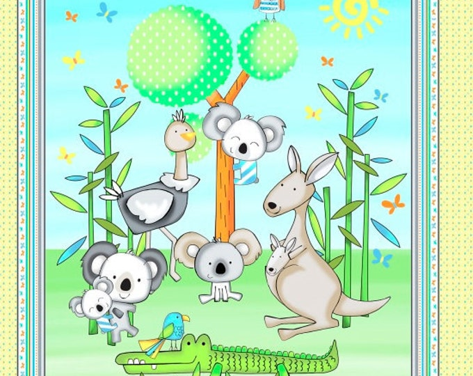 Koala Party Koala Bear Panel, Crocodiles and Parrots by Studio E 24 x 44