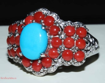 Sleeping beauty turquoise, Mediterranean coral ring set in sterling and platinum size 9 shipping included Usa & Can