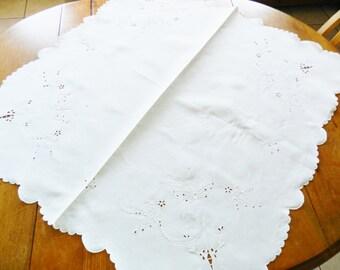 European Hand Embroidered  Tea Cloth, Fine Linen Table Topper, Linen Tea Cloth, Butterfly Linen Tea Cloth