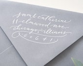 HAND-LETTERED 'Katie flourish' style custom calligraphy rubber address stamp