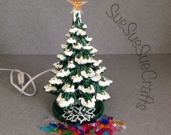 Ceramic CHRISTMAS TREE  11 inch Green with snow traditional holiday decoration, light are not glued in ( Ready to ship) #11GsNoGlue