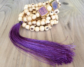 Long Tassel Necklace, Purple, Mala Style, Beaded Necklace, Handmade, Bohemian Jewelry, Acai Seed Necklace, Off-white