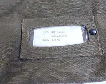 Vintage Italian Military Large Parachute Bag, Duffel Bag, Olive Green Canvas Bag, Chain Closure