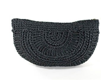 Clutch Raffia Ribbon Made In Italy Black Macrame Vintage 50s Evening Bag