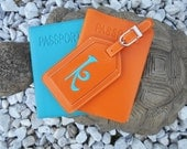 Leather Passport Cover with Personalized Leather Luggage Tag in Papaya