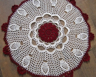 Crochet lace, table center/ doily, fall,made by Demet, ecru, burgundy fabulous, great for the season, ships free in the U.S. table center