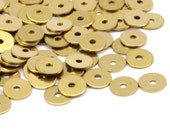 Middle Hole Connector, 250 Raw Brass Round Disc, Middle Hole Connectors, Bead Caps, Findings  (6mm) A0439
